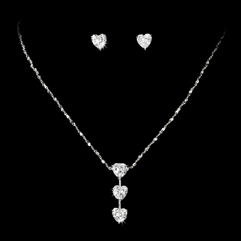 Necklace Earring Set 70808 Silver Clear