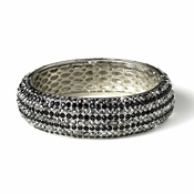 Antique Silver Black Rhinestone Bangle Bracelet B 8332