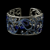 Silver and Blue Bridal Bracelet B 8246