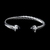 Silver with Black Stones Twisted Design Designer Bangle Bracelet 5007-BL***Discontinued***