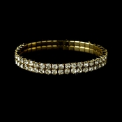 Alluring Gold 2 Row Clear Rhinestone Stretch Bracelet 8012