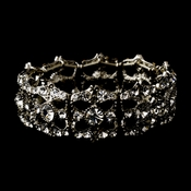 Vintage Silver Clear Stretch Bracelet 8557