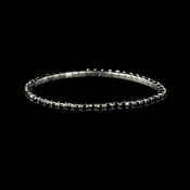 Charming Silver Black Rhinestone Stretch Bracelet 8011