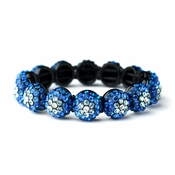 Glistening Four Tone Blue Crystal Stretch Bracelet 8543
