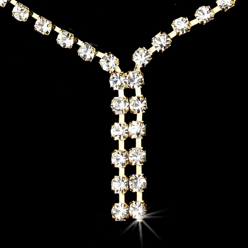 Necklace Earring Set 70055 Gold Clear