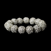 Silver Clear 12mm Pave Ball Stretch Bracelet 8482
