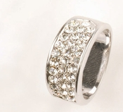 Wide Silver Cubic Zirconia Ring RING0033-S