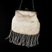 * Beautiful Ivory Satin Bead Fringe Evening Bag 205