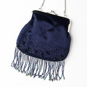 * Beautiful Navy Satin Bead Fringe Evening Bag 205