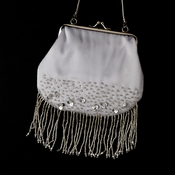 * Beautiful Silver Satin Bead Fringe Evening Bag 205