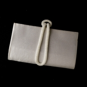 * Wonderful Ivory Satin Beaded Knot Strap Evening Bag 208