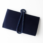 * Wonderful Navy Satin Beaded Knot Strap Evening Bag 208