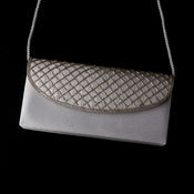 * Beautiful Silver Satin Beaded Evening Bag 213 - Black Only