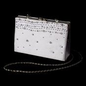 * Striking Silver Satin Beaded Evening Bag 219