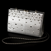 * Striking Metallic Silver Satin Beaded Evening Bag 219
