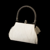 Stunning Ivory Satin Evening Bag w/ Silver Rope Handle & Rhinestone Closure 8022