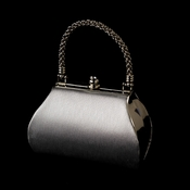 Stunning Metallic Silver Satin Evening Bag w/ Silver Rope Handle & Rhinestone Closure 8022