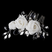 * Silver Crystal White Chiffon Flower Hair Comb 942