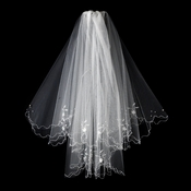 "Bridal Veil 138 Ivory - On Comb, Scalloped Edge w/Pearls & Beading (23"" x 27"")"