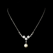 Gorgeous Silver Clear Rhinestone & Ivory Pearl Flower Necklace 3631