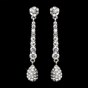 Elegant Silver & Clear Pave Drop Earrings E 945