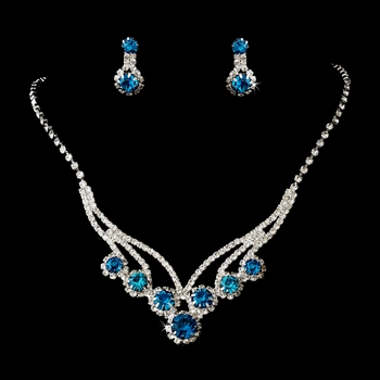 Silver Blue Necklace Earring Set 8477 ***Sold Out***