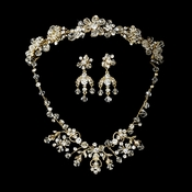 Swarovski Crystal Bridal Necklace Earring & Tiara Set 6317 &7820