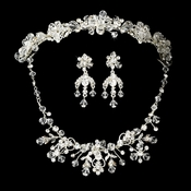 Swarovski Crystal Bridal Necklace Earring & Tiara Set 6317 & 7820