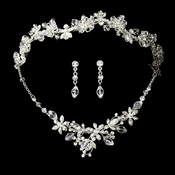 Swarovski Crystal Bridal Necklace Earring & Tiara Set