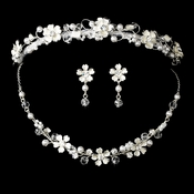 Pearl & Crystal Bridal Jewelry & Tiara Set