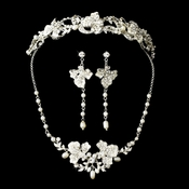 Freshwater Pearl & Crystal Silver Bridal Jewelry & Tiara Set 7803