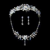 Light Blue Swarovski Crystal Bridal Jewelry & Tiara Set (Other Colors Available)