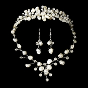 Freshwater Pearl &  Crystal Bridal Necklace Earring & Tiara Set
