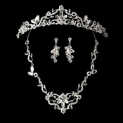 Vintage Necklace Earring & Tiara Clear Crystal Set NE 8312 & HP 8312