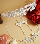 Couture Crystal & Pearl Jewelry & Tiara Set NE 7803 & HP 7803 (Silver or Gold)