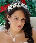 "Matching Regal Bridal Tiara & Jewelry Set HP 13091( Tiara Slightly Irregular Yellow Marks"" & NE 8265"