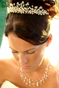 Matching Pearl Illusion Bridal Jewelry & Headpiece NE 3976 & Coordinating Tiara HP 727