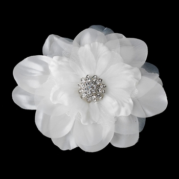 Beautiful Crystal Accented Flower Hair Clip or Clip Brooch 426 White or Ivory