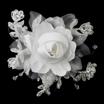 Rhinestone, Crystal, Lace, Satin & Organza Flower Bridal hair Clip 2705