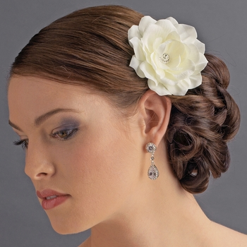 * Jeweled Delphinium Flower Bridal Headpiece Clip 413 White or Ivory