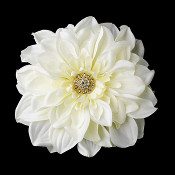 * Elegant Gold and Diamond White Rhinestone Jeweled Royal Dahlia Diamond White Gold Flower Hair Clip or Clip Brooch 417