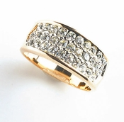 Wide Gold Cubic Zirconia Ring RING0033-G