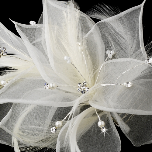 Flower Feather Fascinator with Pearls, Rhinestones & Seed Beads 7805
