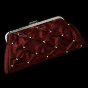 Enchanting Burgundy Satin Clear Rhinestone Evening Bag 303