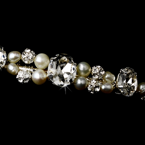 * Elegant Pearl & Crystal Bridal Headband HP 8212