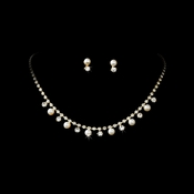 * Gold & Ivory Pearl Necklace and Earring Set NE 136