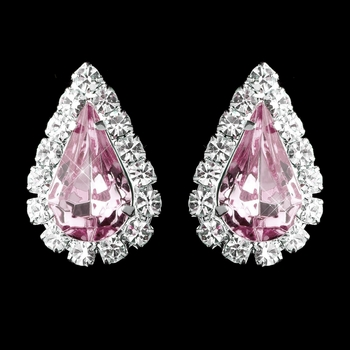 Silver Pink & Clear Teardrop Stud Earrings 1361