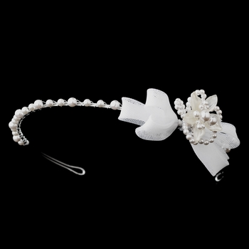 Children's White or Ivory Flower Bow Headband HP C 7589