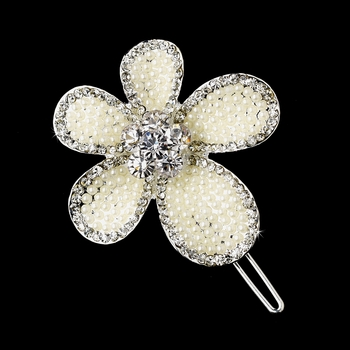 * Silver Ivory Clear Flower Pin 1130