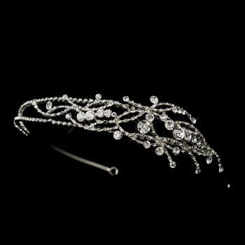 * Antique Silver Clear Rhinestones Side Accented Headband Headpiece 861 (*Only 2 Left in Stock)